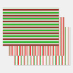 [ Thumbnail: Green, White, Red Christmas Style Stripes Patterns Wrapping Paper Sheets ]
