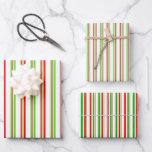 [ Thumbnail: Green, White, Red Christmas-Style Stripes Patterns Wrapping Paper Sheets ]
