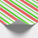 [ Thumbnail: Green, White, Red Christmas Style Stripes Wrapping Paper ]