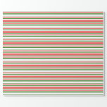 [ Thumbnail: Green, White, Red Christmas Themed Lined Pattern Wrapping Paper ]