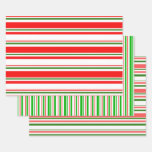 [ Thumbnail: Green, White, Red Christmas Themed Lined Patterns Wrapping Paper Sheets ]