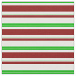 [ Thumbnail: Green, White, Red Christmas-Themed Lines Pattern Fabric ]