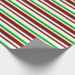 [ Thumbnail: Green, White, Red Christmas-Themed Lines Pattern Wrapping Paper ]
