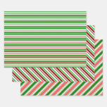 [ Thumbnail: Green, White, Red Christmas-Themed Lines Patterns Wrapping Paper Sheets ]