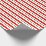 [ Thumbnail: Green, White, Red Colored Christmas Inspired Wrapping Paper ]