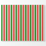 [ Thumbnail: Green, White, Red Colored Christmas-Inspired Wrapping Paper ]