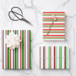 [ Thumbnail: Green, White, Red Colored Christmas Inspired Wrapping Paper Sheets ]
