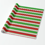 [ Thumbnail: Green, White, Red Colored Christmas-Style Lines Wrapping Paper ]