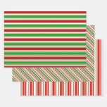 [ Thumbnail: Green, White, Red Colored Christmas-Style Lines Wrapping Paper Sheets ]