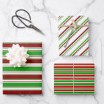 [ Thumbnail: Green, White, Red Colored Christmas-Style Patterns Wrapping Paper Sheets ]