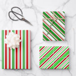 [ Thumbnail: Green, White, Red Colored Christmas Style Patterns Wrapping Paper Sheets ]