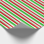 [ Thumbnail: Green, White, Red Colored Christmas Style Stripes Wrapping Paper ]