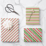 [ Thumbnail: Green, White, Red Colored Christmas-Style Stripes Wrapping Paper Sheets ]