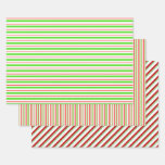 [ Thumbnail: Green, White, Red Colored Christmas Style Stripes Wrapping Paper Sheets ]