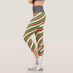 [ Thumbnail: Green, White, Red Colored Christmas-Themed Lines Leggings ]