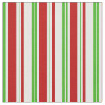 [ Thumbnail: Green, White, Red Colored Christmas Themed Lines Fabric ]