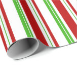[ Thumbnail: Green, White, Red Colored Christmas Themed Lines Wrapping Paper ]