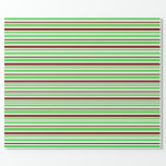 [ Thumbnail: Green, White, Red Colored Christmas-Themed Lines Wrapping Paper ]