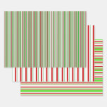 [ Thumbnail: Green, White, Red Colored Christmas Themed Lines Wrapping Paper Sheets ]