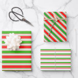 [ Thumbnail: Green, White, Red Colored Christmas-Themed Lines Wrapping Paper Sheets ]