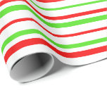 [ Thumbnail: Green, White, Red Colored Striped/Lined Pattern Wrapping Paper ]