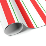 [ Thumbnail: Green, White, Red Colored Stripes Pattern Wrapping Paper ]