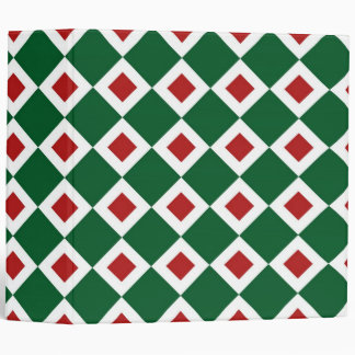 Green, White, Red Diamond Pattern 3 Ring Binders