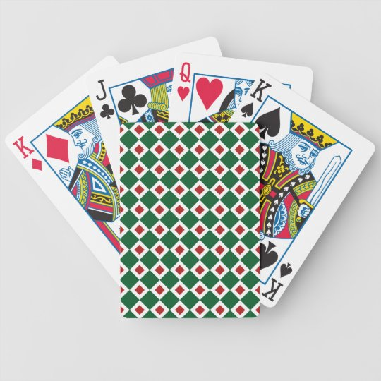 Green, White, Red Diamond Pattern Bicycle Playing Cards