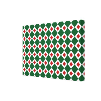 Green, White, Red Diamond Pattern Stretched Canvas Prints