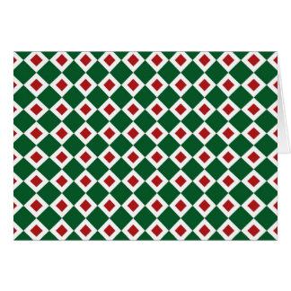 Green, White, Red Diamond Pattern Card
