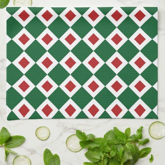 Green, White, Red Diamond Pattern Hand Towel