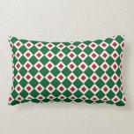 Green, White, Red Diamond Pattern Pillow