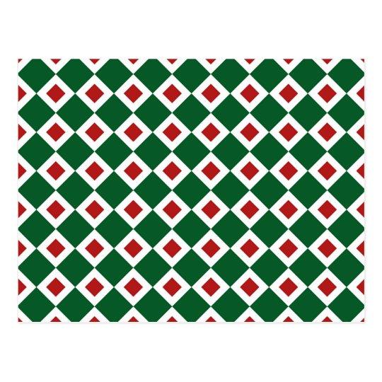 Green, White, Red Diamond Pattern Postcard