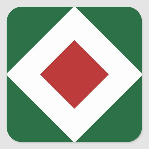 Green, White, Red Diamond Pattern Square Stickers