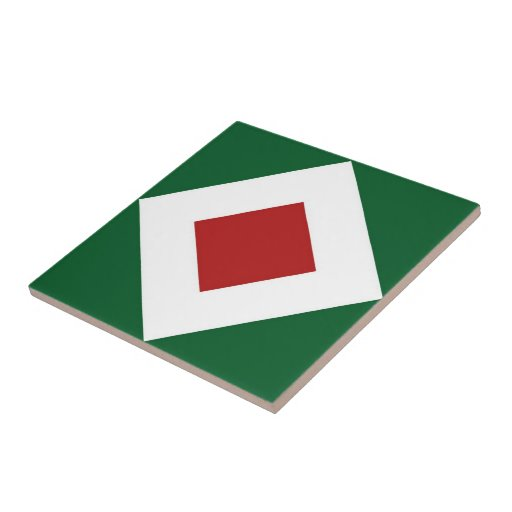 Green, White, Red Diamond Pattern Small Square Tile