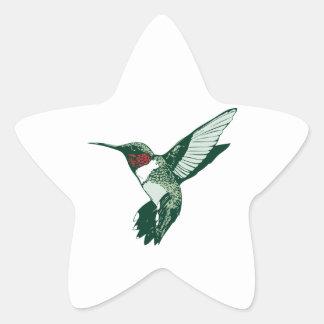 Green, White, Red Flapping Hummingbird Star Sticker