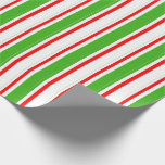 [ Thumbnail: Green, White, Red Striped/Lined Pattern Wrapping Paper ]