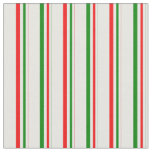 [ Thumbnail: Green, White, Red Striped Pattern Fabric ]