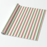 [ Thumbnail: Green, White, Red Striped Pattern Wrapping Paper ]