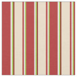 [ Thumbnail: Green, White, Red, Tan & Maroon Colored Lines Fabric ]