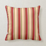 [ Thumbnail: Green, White, Red, Tan & Maroon Colored Lines Throw Pillow ]