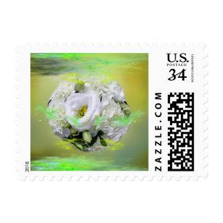 Green & White Roses Wedding Art Bouquet Stamp