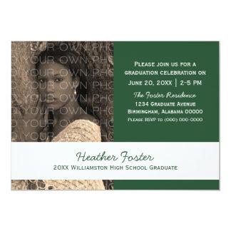 Green/White School Color Blocks Grad Invite