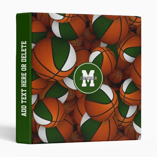 green white school colors boys girls basketball 3 ring binder