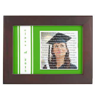 Green & White School Colors Graduation Keepsake Keepsake Box