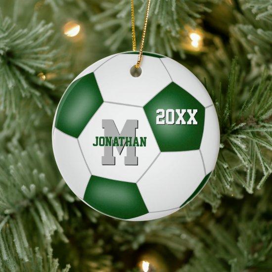 green white school colors kids keepsake soccer ceramic ornament