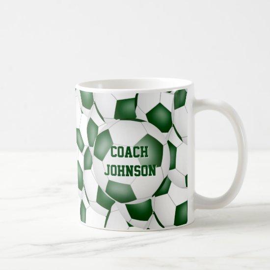 green white school colors soccer coach gift coffee mug
