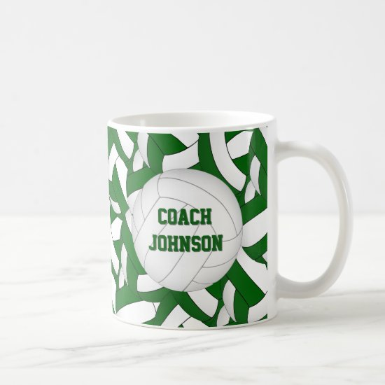 green white school colors volleyball coach gift coffee mug