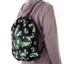 green white school team colors basketball pattern drawstring bag