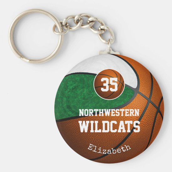 green white school team colors girls' basketball keychain